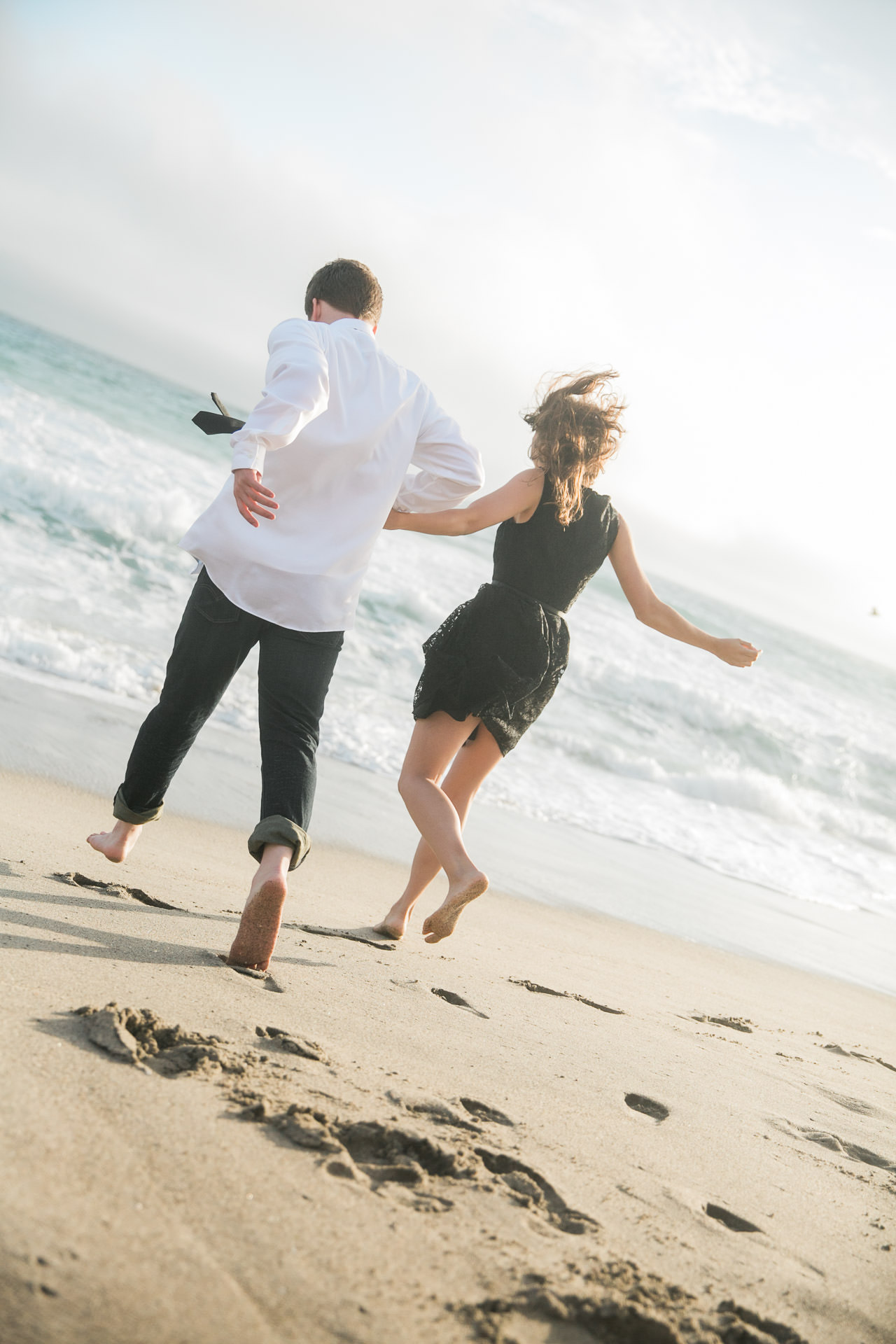 malibu beach summer engagement session